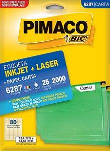 ETIQUETA INKJET/LASER CARTA 12,7 x 44,45 C/25 FLS PIMACO 6287