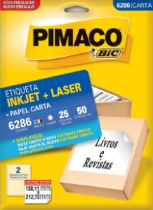 ETIQUETA INKJET/LASER CARTA 138,11 x 212,73 C/25 FLS PIMACO 6286