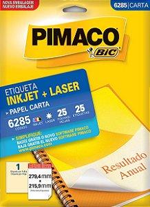 ETIQUETA INKJET/LASER CARTA 279,4 x 215,9 C/25 FLS PIMACO 6285