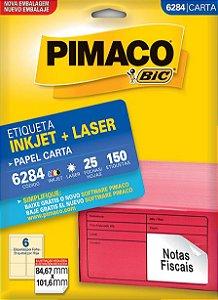 ETIQUETA INKJET/LASER CARTA 84,67 x 101,6 C/25 FLS PIMACO 6284