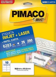 ETIQUETA INKJET/LASER CARTA 50,8 x 101,6 C/25 FLS PIMACO 6283
