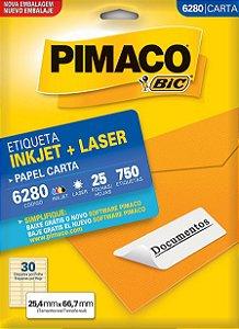 ETIQUETA INKJET/LASER CARTA 25,4 x 66,7 C/25 FLS PIMACO 6280