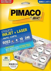 ETIQUETA INKJET/LASER CARTA 42,33MM C/10 FLS PIMACO 6093