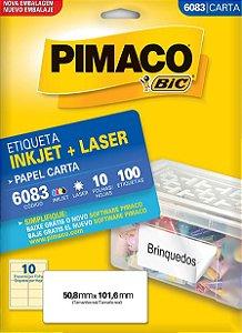 ETIQUETA INKJET/LASER CARTA 50,8 x 101,6 C/10 FLS PIMACO 6083