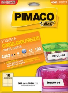 ETIQUETA INKJET/LASER 50,8 x 101,6 PARA FREEZER C/10 FLS PIMACO 4083