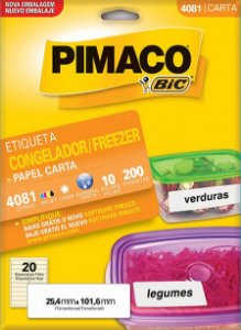 ETIQUETA INKJET/LASER 25,4 x 101,6 PARA FREEZER C/10 FLS PIMACO 4081
