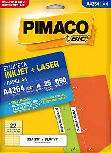 ETIQUETA INKJET/LASER A4 25,4 x 99,0 C/25 FLS PIMACO A4254