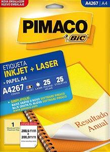 ETIQUETA INKJET/LASER A4 288,5 x 200,0 C/25 FLS PIMACO A4267