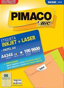 ETIQUETA INKJET/LASER A4 17,0 x 31,0 C/100 FLS PIMACO A4348