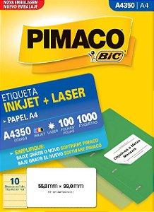 ETIQUETA INKJET/LASER A4 55,8 x 99,0 C/100 FLS PIMACO A4350