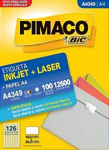 ETIQUETA INKJET/LASER A4 15,0 x 26,0 C/100 FLS PIMACO A4349