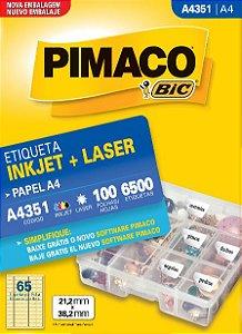ETIQUETA INKJET/LASER A4 21,2 x 38,2 C/100 FLS PIMACO A4351