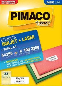 ETIQUETA INKJET/LASER A4 25,4 x 63,5 C/100 FLS PIMACO A4356