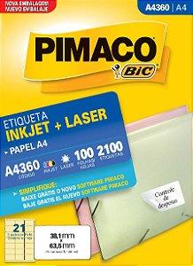 ETIQUETA INKJET/LASER A4 38,1 x 63,5 C/100 FLS PIMACO A4360