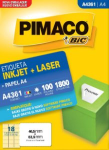 ETIQUETA INKJET/LASER A4 46,5 x 63,5 C/100 FLS PIMACO A4361