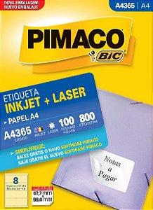 ETIQUETA INKJET/LASER A4 67,7 x 99,0 C/100 FLS PIMACO A4365