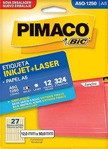ETIQUETA INKJET/LASER A5 12,0 x 50,0 C/12 FLS PIMACO A5Q-1250