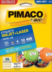 ETIQUETA INKJET/LASER A5 18,0 x 37,0 C/12 FLS PIMACO A5Q-1837