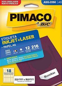 ETIQUETA INKJET/LASER A5 22,0 x 55,0 C/12 FLS PIMACO A5Q-2050