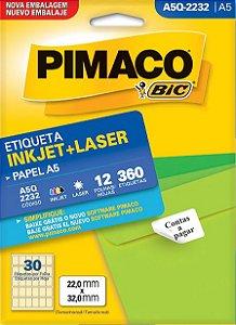 ETIQUETA INKJET/LASER A5 22,0 x 32,0 C/12 FLS PIMACO A5Q-2232