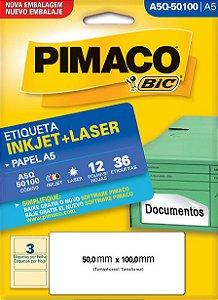 ETIQUETA INKJET/LASER A5 50,0 x 100,0 C/12 FLS PIMACO A5Q-50100