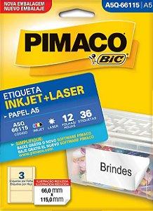 ETIQUETA INKJET/LASER A5 66,0 x 115,0 C/12 FLS PIMACO A5Q-66115