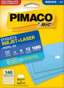 ETIQUETA INKJET/LASER A5 9,0 x 16,0 C/12 FLS PIMACO A5Q-916