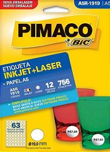 ETIQUETA INKJET/LASER A5 19,0MM C/12 FLS PIMACO A5R-1919