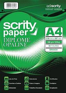 PAPEL DIPLOME BRANCO A4 180G PCTE C/50 FOLHAS SCRITY SP 052.01