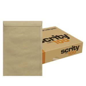 ENVELOPE SACO KRAFT NATURAL 250x353 80G CX C/100 UN. SCRITY SKN335