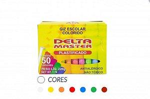 GIZ ESCOLAR PLASTIFICADO COLORIDO CX C/50 UN. DELTA 0031
