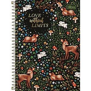 CADERNO 1/4 CAPA DURA ESPIRAL 80 FOLHAS LOVE LIMITS LOVELAND TILIBRA 322831