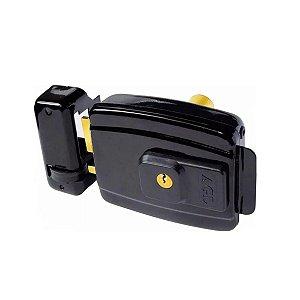 Fechadura Eletrica AGL Mini Interna Chave Tetra F. Convencional Preta