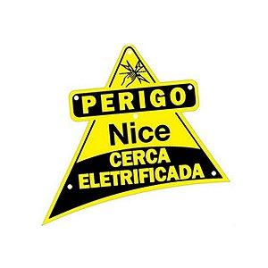 Placa de Advertencia Nice Cerca Eletrica - Face Dupla