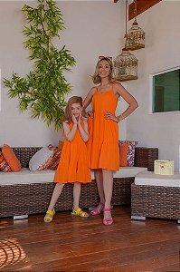 Vestido Valéria laranja - INFANTIL