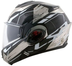 Capacete LS2 FF399 Valiant Roboto Preto/Branco Cromado