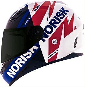 Capacete Norisk FF391 Stunt Furious Branco/Vermelho/Azul