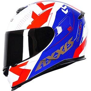 Capacete Axxis Eagle Diagon Branco/Azul/Vermelho