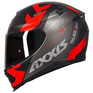 Capacete Axxis Eagle Diagon Preto/Vermelho