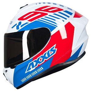 Capacete Axxis Draken Z96 Branco/Vermelho/Azul