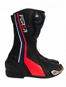 Bota Forza Long Rider Preto/Branco/Vermelho/Azul