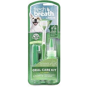 Kit Tropiclean Fresh Breath Brushing Gel 59ml Remove Tártaro