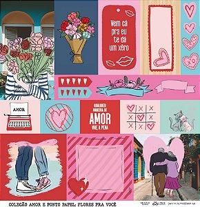 Papel Flores pra Você (Coleção Amor e Ponto) - Pacote com 15 Unidades
