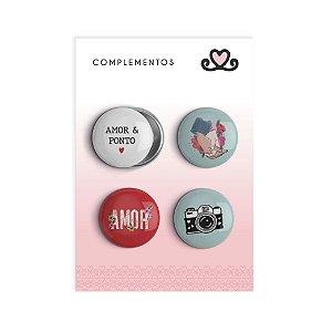 Bottons Amor e Ponto ( Coleção Amor e Ponto) - pacote com 3 cartelas