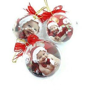 Bolas de natal com foto + caixa - 5 unidades