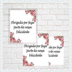 Tag para lembrancinhas - Floral - 100 uni