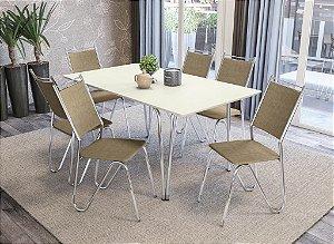 Conjunto de Mesa Amur 06 Cadeiras Lodres - CR31