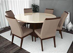 Conjunto de Mesa Barcelona Redonda e 06 Cadeiras Munique
