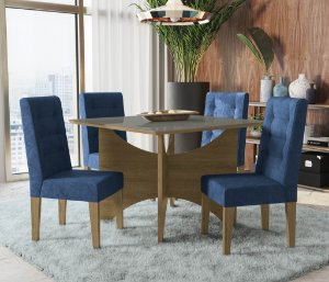 Conjunto de Mesa Camomila 4 Cadeiras D008 - Kappesberg