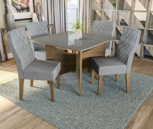 Conjunto de Mesa Camomila 4 Cadeiras A018 - Kappesberg